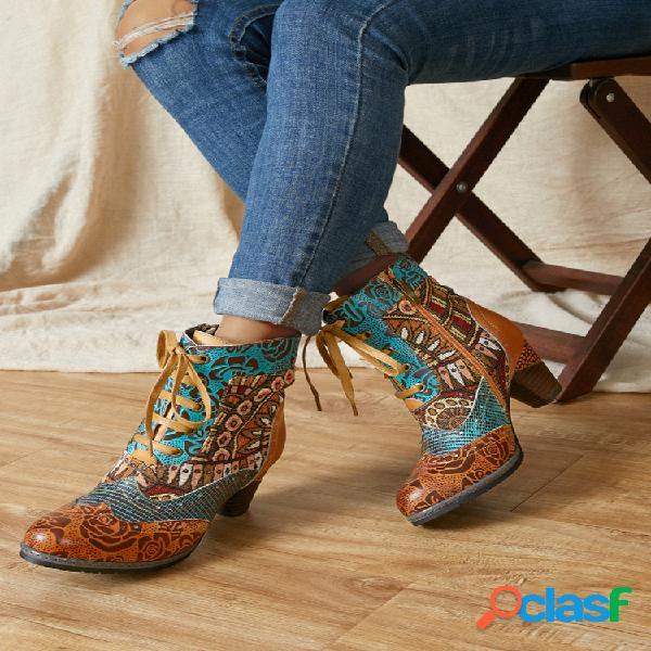Socofy tribal de empalme de cuero estampado floral retro patrón corto cómodo para vestir de tela botas