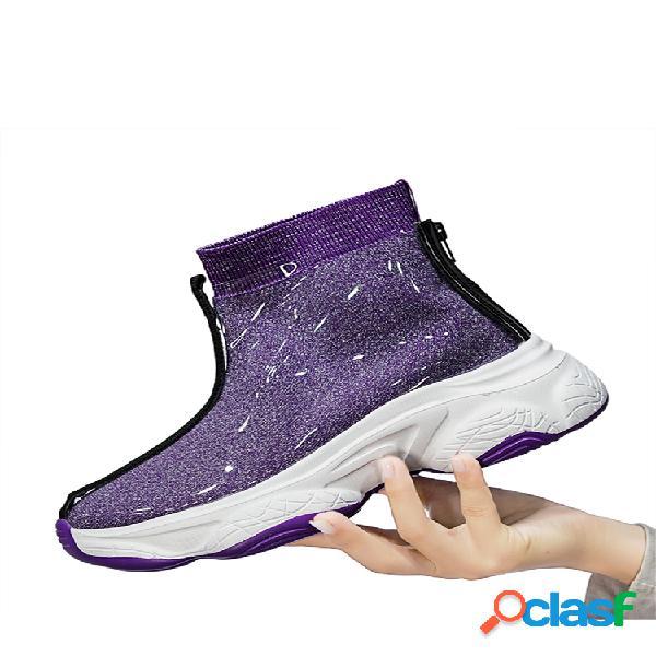 Mujer color sólido, ligero, antideslizante soft calcetín deportivo informal transparente con suela botas