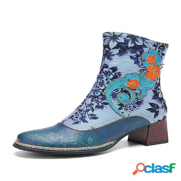 Socofy elegante flores tela apliques empalme floral en relieve usable cremallera corto botas