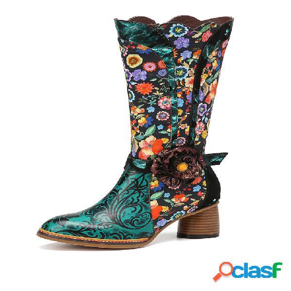 Socofy piel genuina estampado floral decoración de flores cómodo tacón grueso cómodo a mitad de la pantorrilla botas