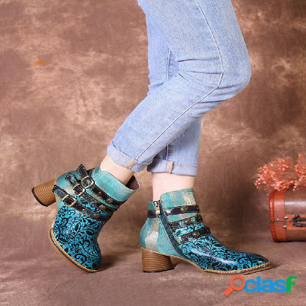 Socofy vendimia piel genuina forro cálido correas con hebilla decoración invierno corto de tacón grueso botas