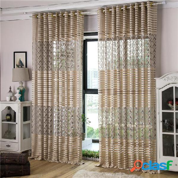 2 paneles jacquard lace punching sheer cortinas de tulle hollow out ventana de detección