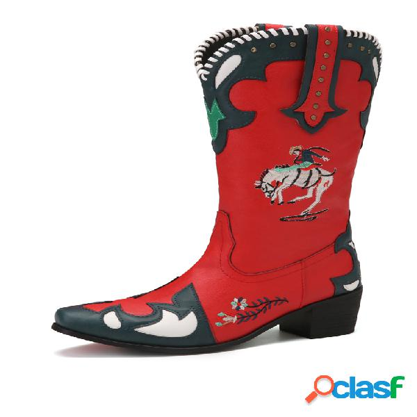 Socofy folkways bordado empalme usable tacón grueso vaquero a media pierna botas