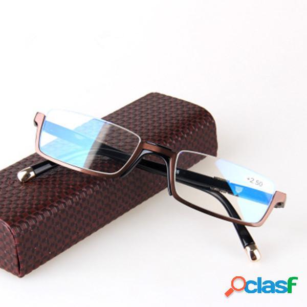 Gafas de lectura marco medio marco de metal vintage gafas de lectura gafas de resina de caballero de negocios