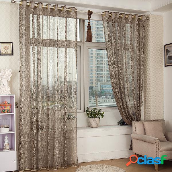 2 paneles jacquard gris sheer cortinas de tulle hollow out ventana de cribado dormitorio balcón decor