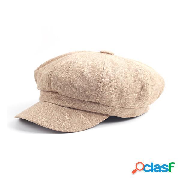Mujer vendimia gorra octogonal boina sólida sombrero visera informal vendedor de periódicos pintor sombrero