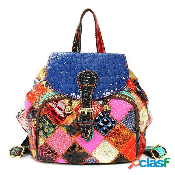 Mujer vendimia piel genuina viaje al aire libre escuela mochila