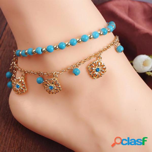 Bohemia turquesa perlas de aleación de cadena tobillera