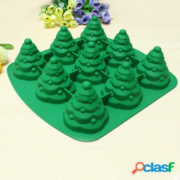 Molde de la torta del árbol de navidad 3d molde de la hornada del chocolate de la galleta del silicón cocina multi de la función aaccessorie.s