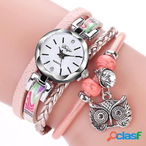 Bohemia estilo lindo búho colgante pulsera de cuero reloj de moda relojes de pulsera de múltiples capas para las mujeres