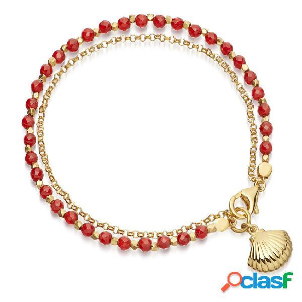 Bohemia con cuentas pulseras de doble cubierta simple shell charm chain pulseras para mujeres