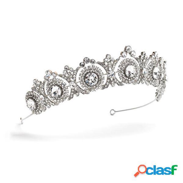 Joyería elegante del regalo de fromal de los accesorios del pelo del rhinestone de la corona de la plata de banda para el cabello para mujer