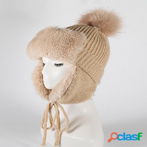 Mujer invierno cálido plus plush gorro de punto sombrero con orejeras gorra leifeng al aire libre resistente al viento sombrero