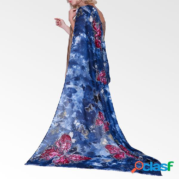 Mujer vendimia algodón lino transpirable soft bufanda fina y cálida 180 * 90cm chal de gran tamaño con patrón de mariposa