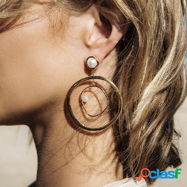 Pendientes de perlas de moda pendientes de moda geométrica forma redonda placa de oro pendientes de las mujeres