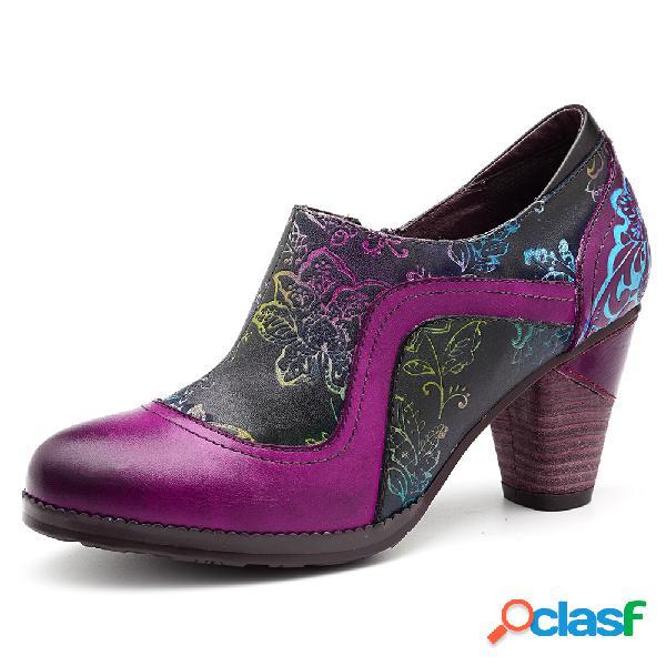 Socofy combinación de colores piel genuina empalme de flores patrón costura zapatos de tacón grueso con cremallera
