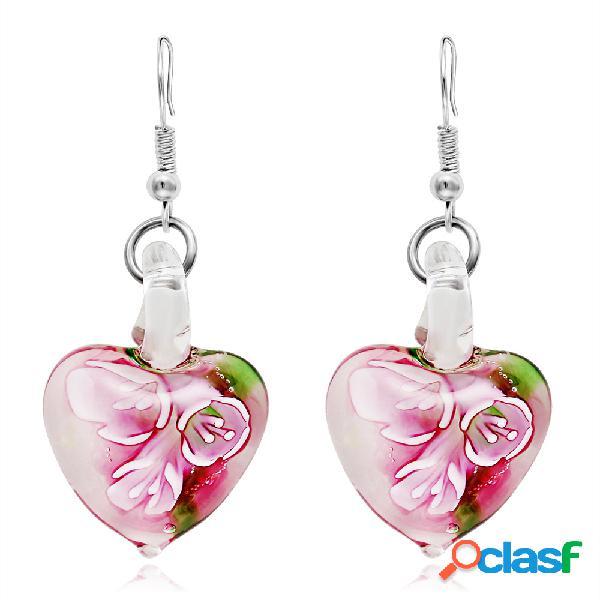 Bohemia creativa luminosa étnico joyas pendientes flor patrón corazón cuelga los pendientes para las mujeres