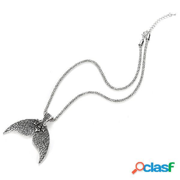 Bohemia plata antigua cola de sirena colgante collares para mujeres vintage beach party regalo de la joyería