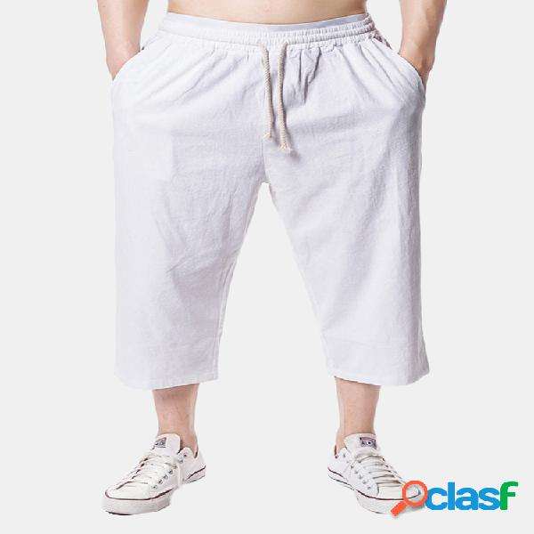 Hombre playa casual lino holgado hasta la pantorrilla pantalones color sólido suelto pantalones