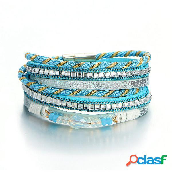 Bohemia pulseras de múltiples capas cuentas de cristal pulsera de cadena cuerda trenzada joyería étnica para mujeres