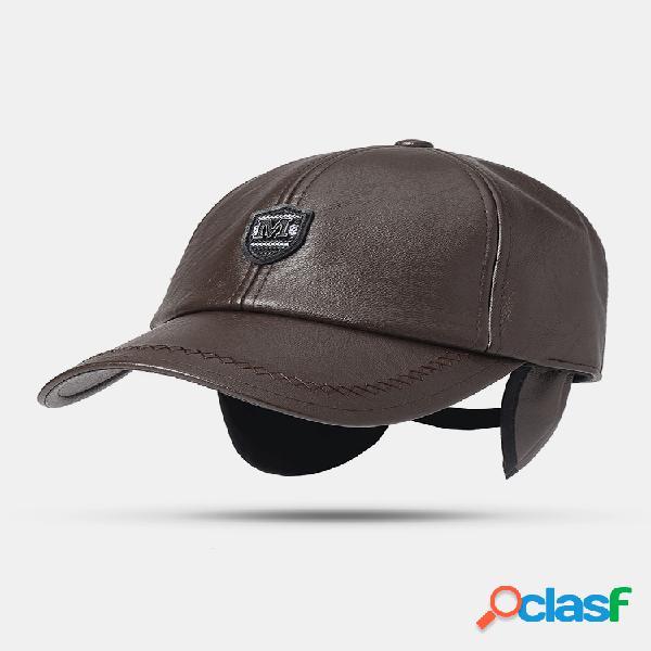 Hombres sólido invierno pu gorra de béisbol de cuero artificial bombardero ajustable sombrero con oreja solapas