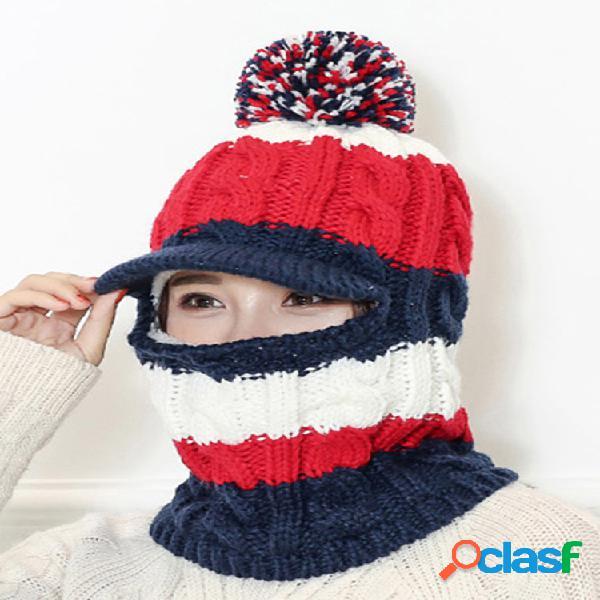Mujer lana de punto cálido sombrero invierno al aire libre ciclismo sombrero bufanda one plus orejeras de terciopelo engrosado sombrero