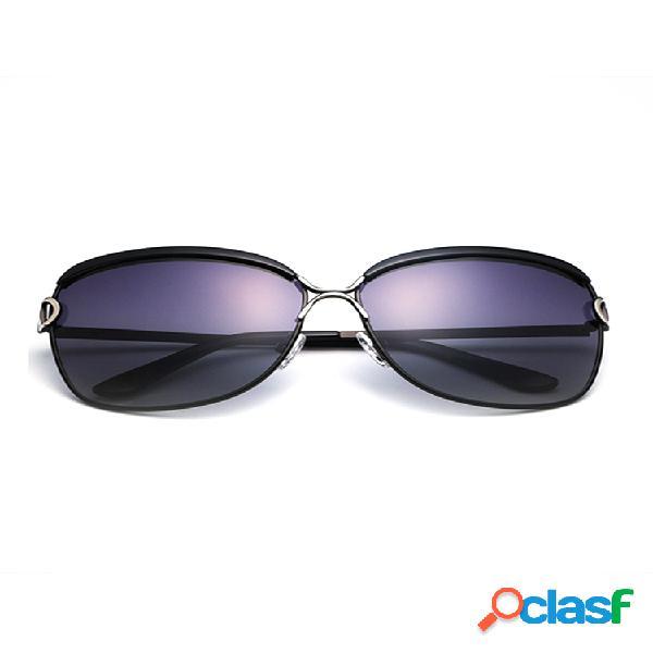 Mujer vendimia uv protección polarizada gafas gafas de sol de aleación con montura grande
