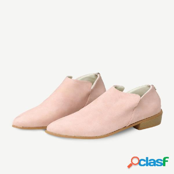 Tamaño grande mujer tobillo de tacón bajo con cremallera de color sólido informal botas