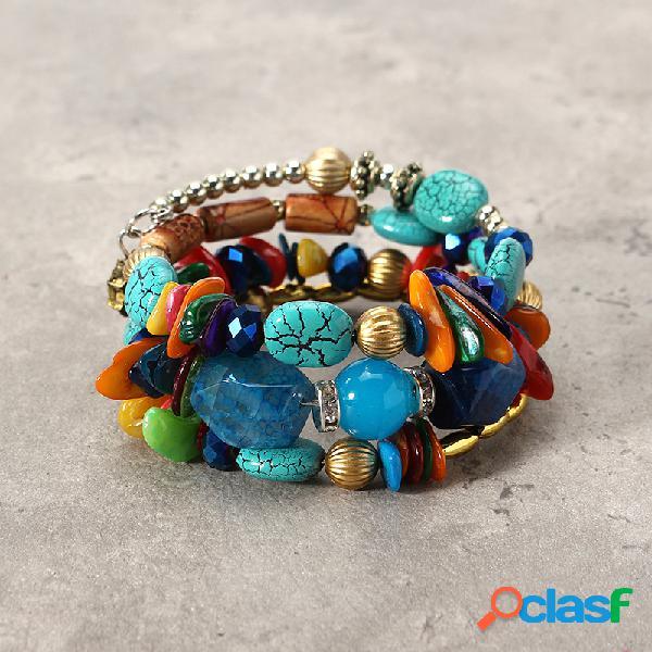 Bohemia colorful pulsera larga de piedra pulsera de cuentas de diamantes de imitación multicapa regalo para ella él
