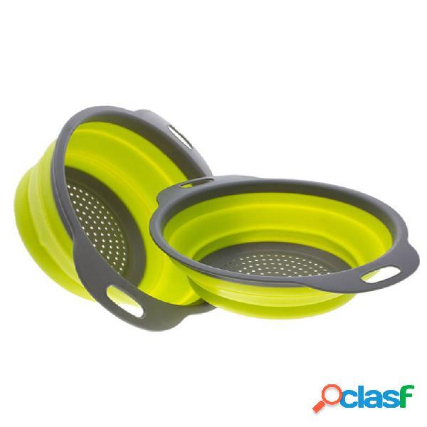 Cocina plegable plegable silicona colador cesta colador de frutas y verduras