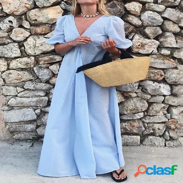 Color sólido con cuello en v holiday maxi vestido para mujer