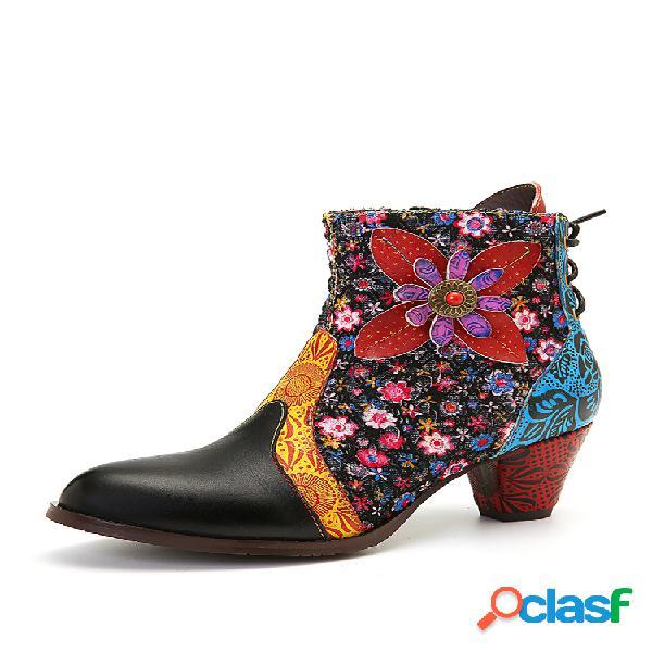 Socofy retro hoja flor cuero cómodo cremallera tacón alto tobillo botas