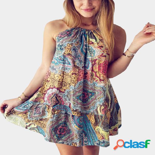 Bohemia estilo al azar mini vestido de impresión floral