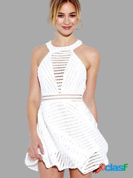 Blanco hollow out mini vestido sin mangas con cuello redondo