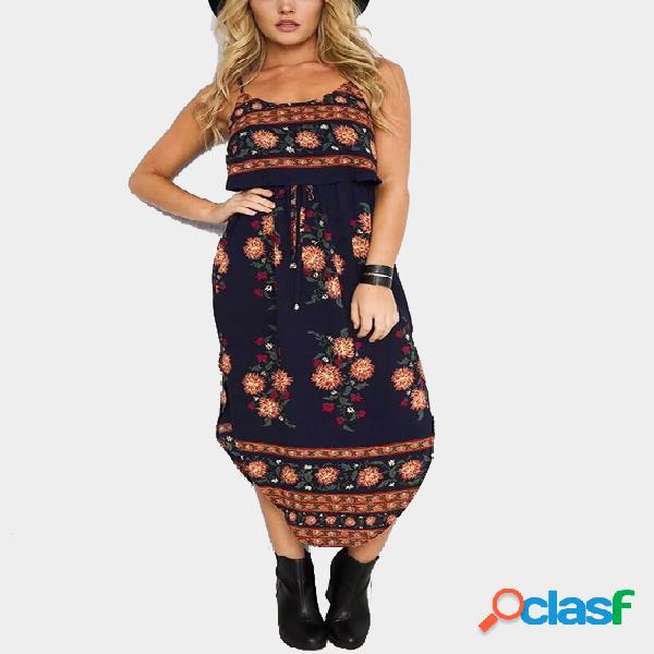 Bohemia al azar de impresión floral de la cintura del lazo vestido maxi