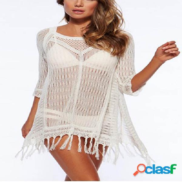 Hollow out mini vestido hecho punto en blanco