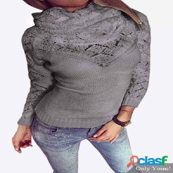 Grey high neck pullover hollow out jumper con dos piezas