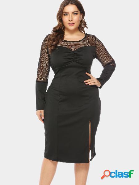 Vestido tallas extra negro hollow out split midi