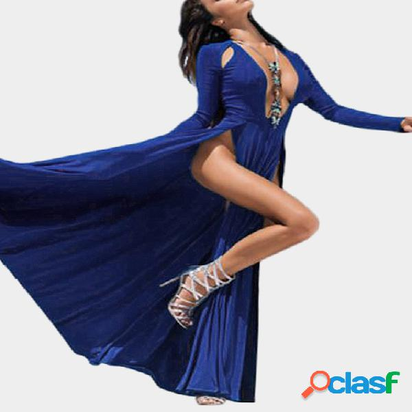 Deep v cuello de hendidura de corte irregular hem hollow out maxi dress