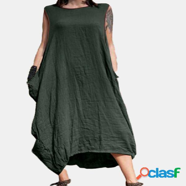 Color sólido sin mangas plus talla verano vestido con bolsillos