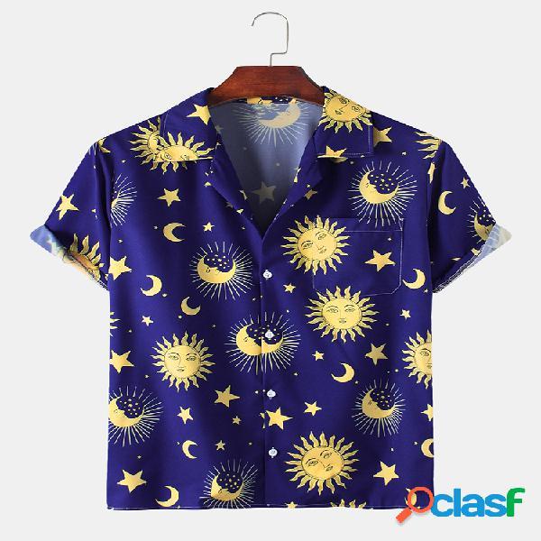 Hombre diversión cartoon star moon print playa casual camisa