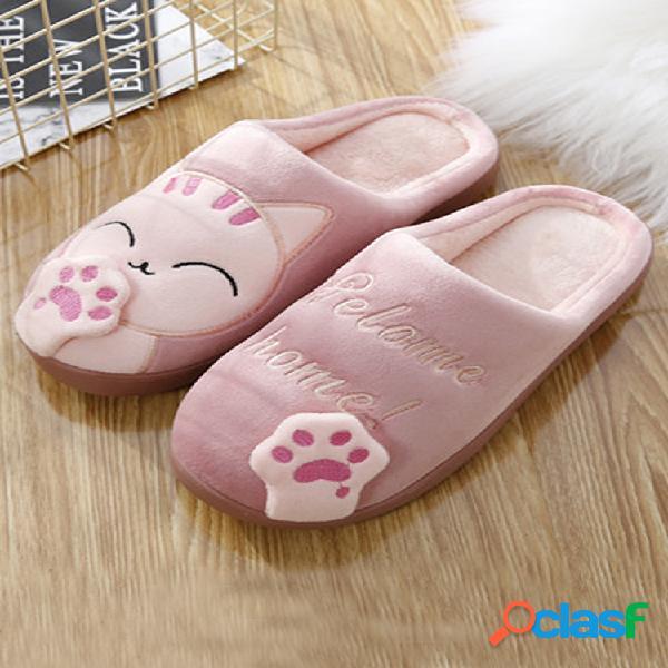 Tamaños grandes mujer bonita gato casa decorativa zapatillas