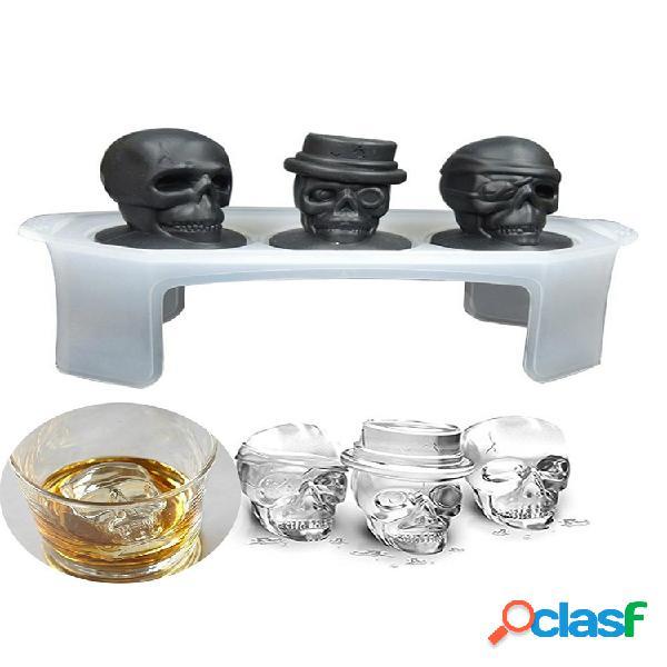 3d cráneo hielo cube bandeja molde de hielo de halloween cocktiail silicona molde de helado cráneo molde de chocolate con forma de cocina herramientas juego de 3