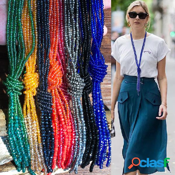 Bohemia colorful collar multicapa con cuentas borla transparente cadena de suéter de cristal
