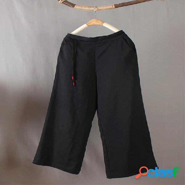Color sólido cintura elástica cordón ancho pierna pantalones