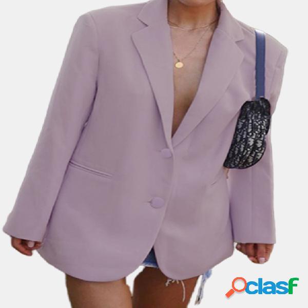 Color sólido solapa casual plus tamaño chaqueta de traje