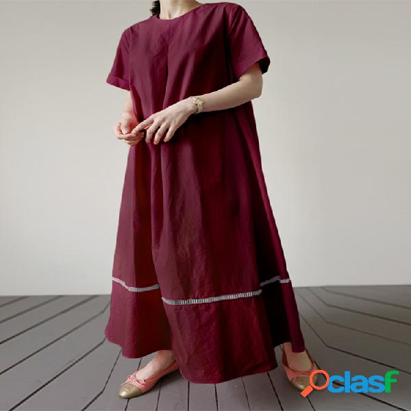 Color sólido dobladillo hueco manga corta plus talla casual vestido
