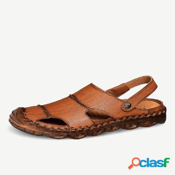 Hombre punta cerrada costuras a mano al aire libre puntera de goma cuero sandalias