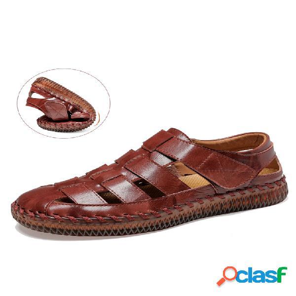 Hombre punta cerrada costuras a mano tejido al aire libre cuero vestido sandalias