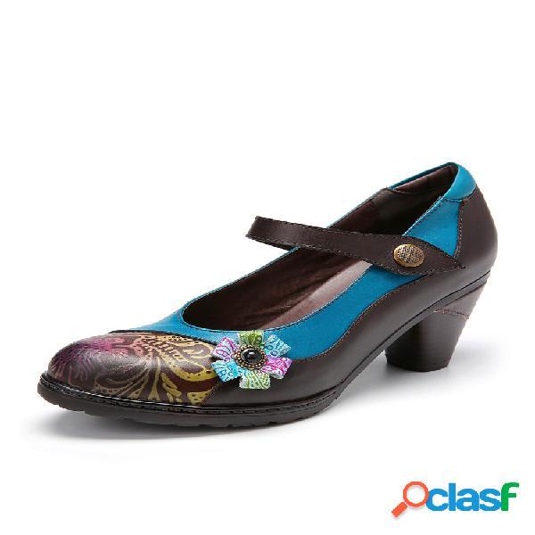 Socofy zapatos de tacón grueso con empalme floral de cuero retro mary jane vestido zapatos